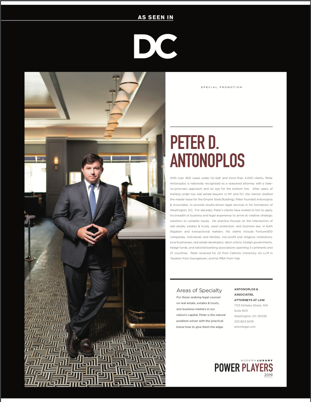 Peter Antonoplos Named DC Power Player Washington DC Legal Article Featured Image by Antonoplos & Associates