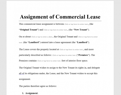 Assignment of Commercial Lease