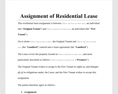Assignment of Residential Lease