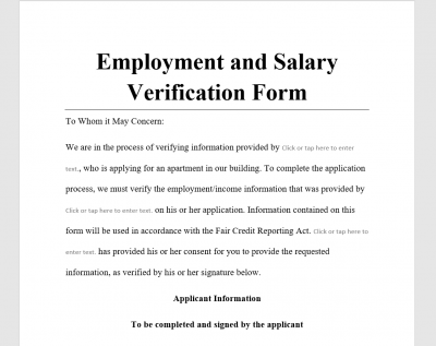 Employment and Salary Verification Form