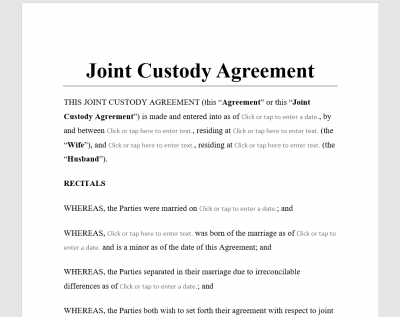 Joint Custody Agreement