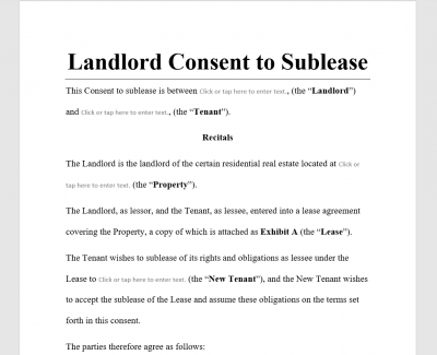 Landlord Consent to Sublease