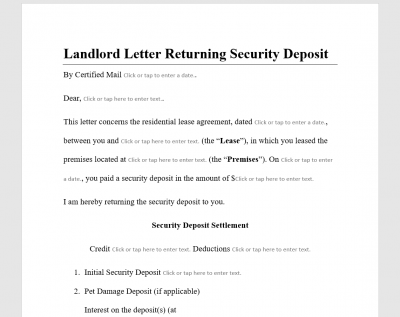 Landlord Letter Returning Security Deposit