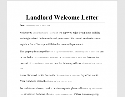 Landlord Welcome Letter