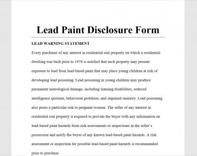 Lead Paint Disclosure Form