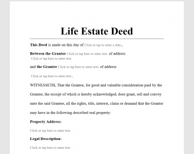 Life Estate Deed