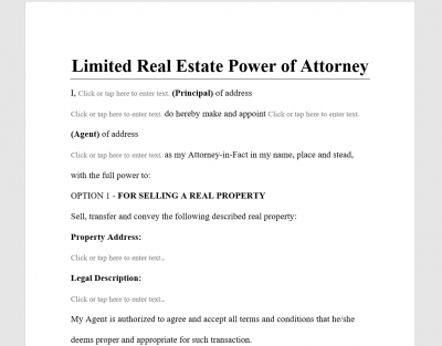 Limited Real Estate Power of Attorney