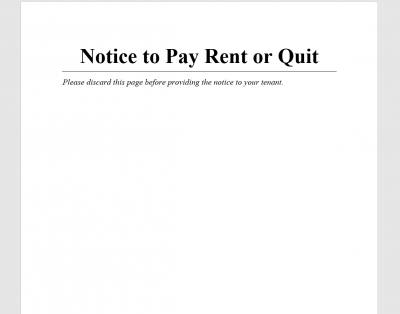 Notice to Pay Rent or Quit