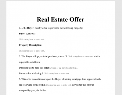 Real Estate Offer