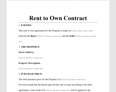 Rent to Own Contract