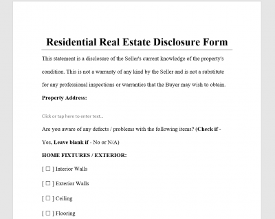 Residential Real Estate Disclosure FOr