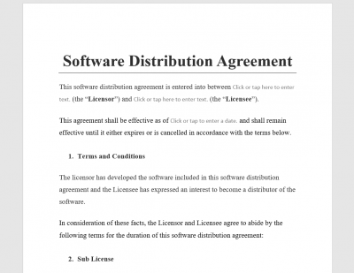 Software Distribution Agreement