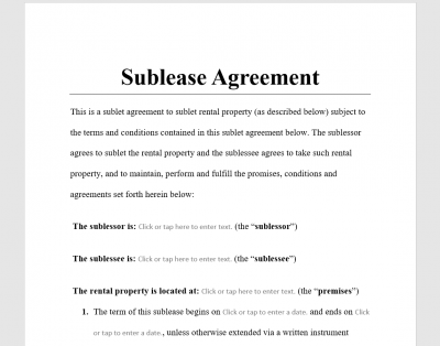 Sublease Agreement