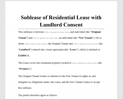 Sublease of Residential Lease with Landlord Consent